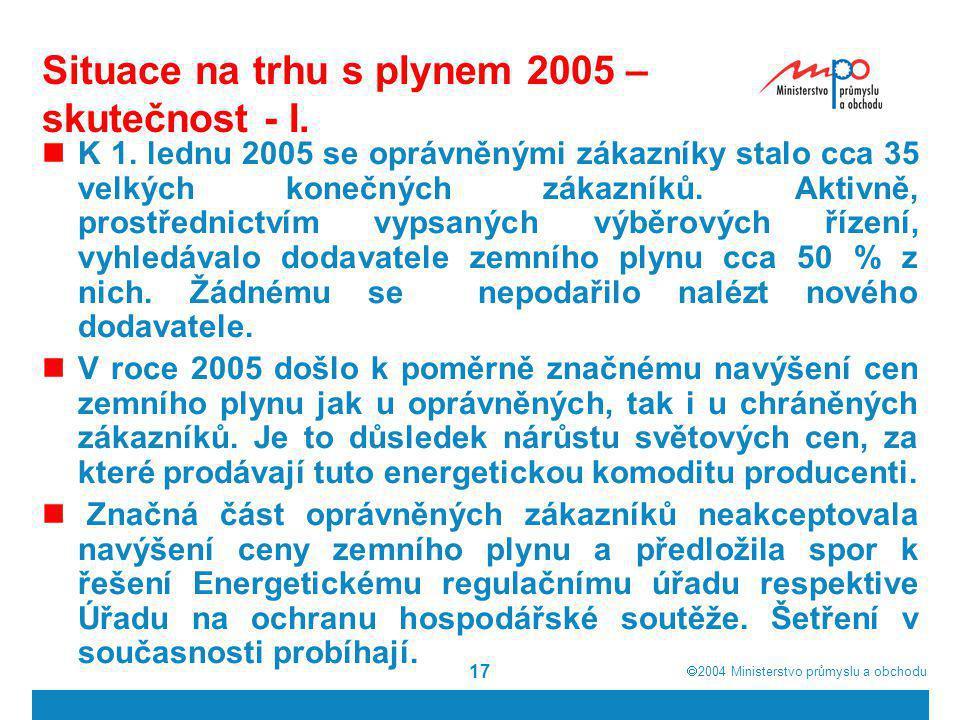 Situace na trhu s plynem 2005 – skutečnost - I.