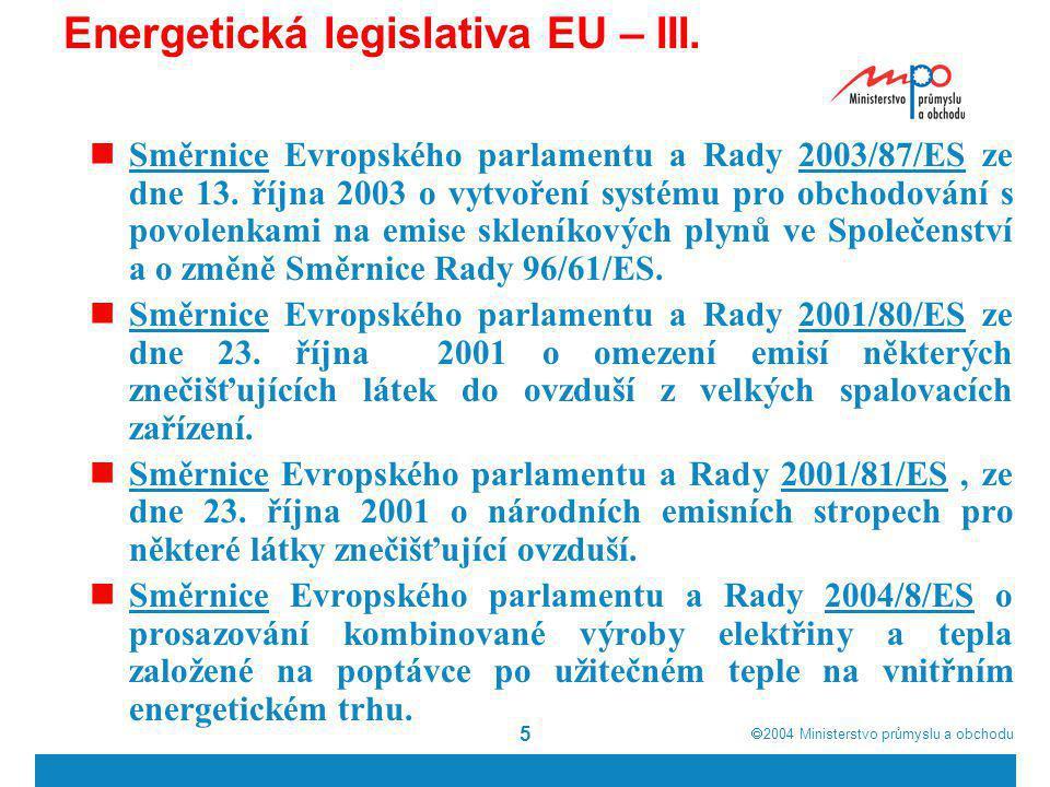 Energetická legislativa EU – III.