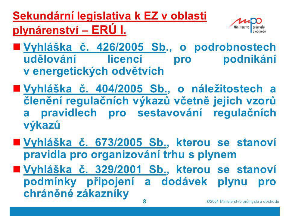 Sekundární legislativa k EZ v oblasti plynárenství – ERÚ I.
