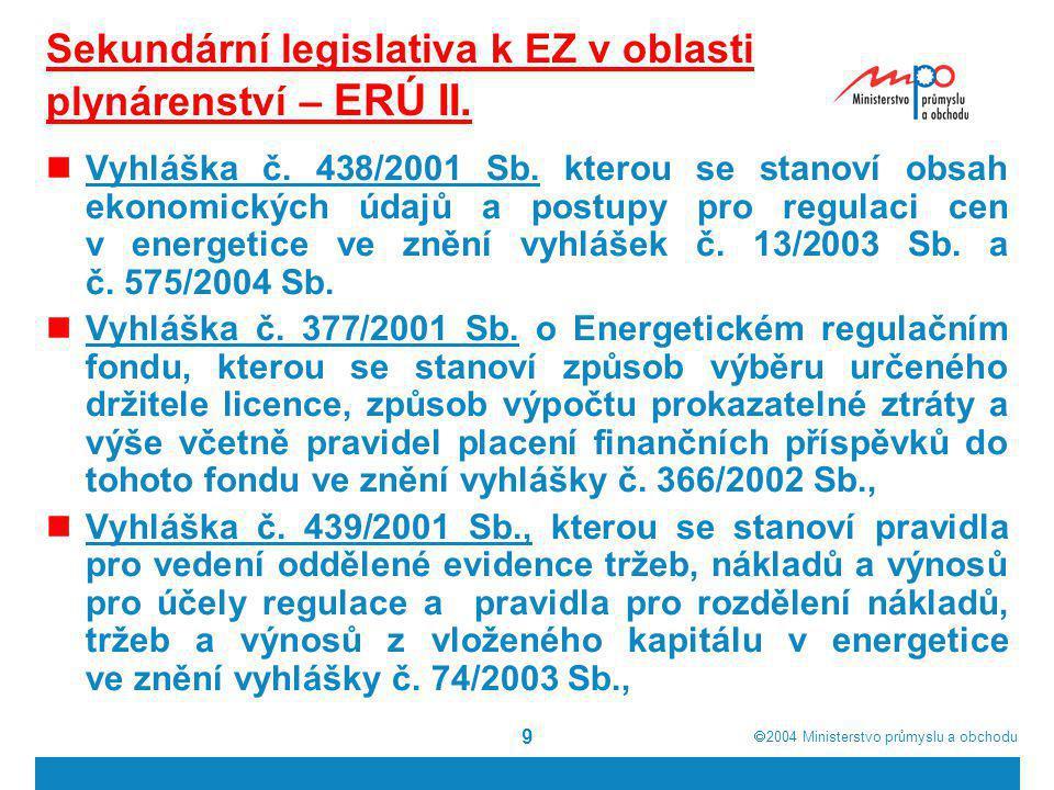Sekundární legislativa k EZ v oblasti plynárenství – ERÚ II.