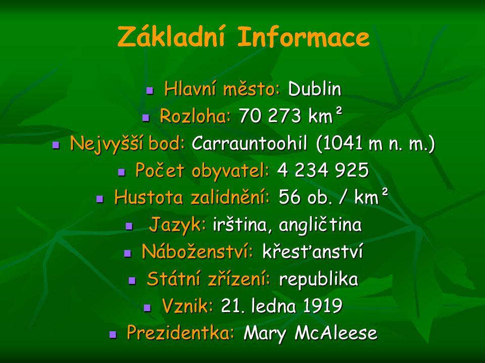 Základní Informace Hlavní město: Dublin Rozloha: 70 273 km²