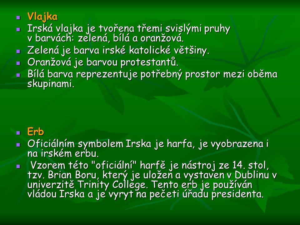 Vlajka Irská vlajka je tvořena třemi svislými pruhy v barvách: zelená, bílá a oranžová. Zelená je barva irské katolické většiny.