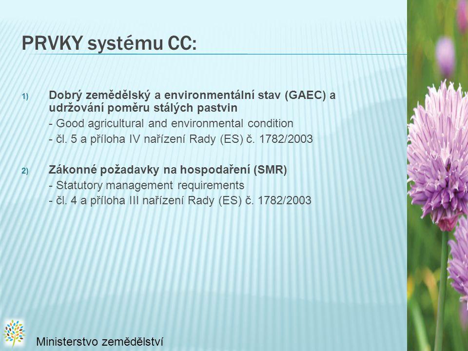 PRVKY systému CC: Dobrý zemědělský a environmentální stav (GAEC) a udržování poměru stálých pastvin.