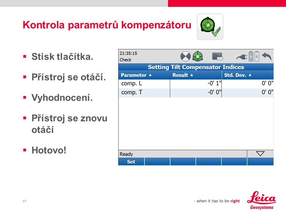 Kontrola parametrů kompenzátoru