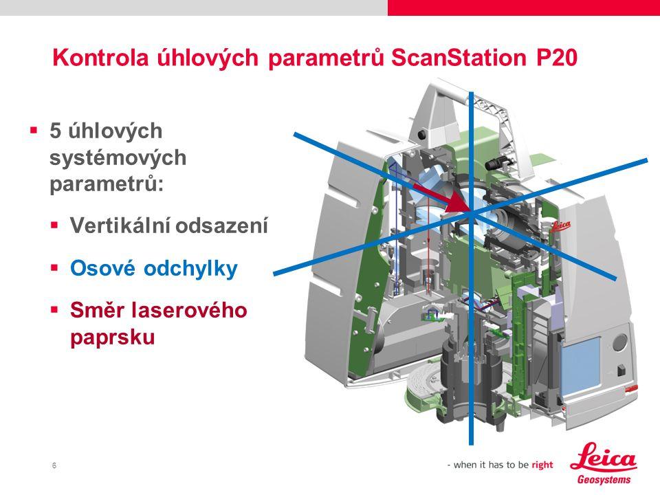 Kontrola úhlových parametrů ScanStation P20
