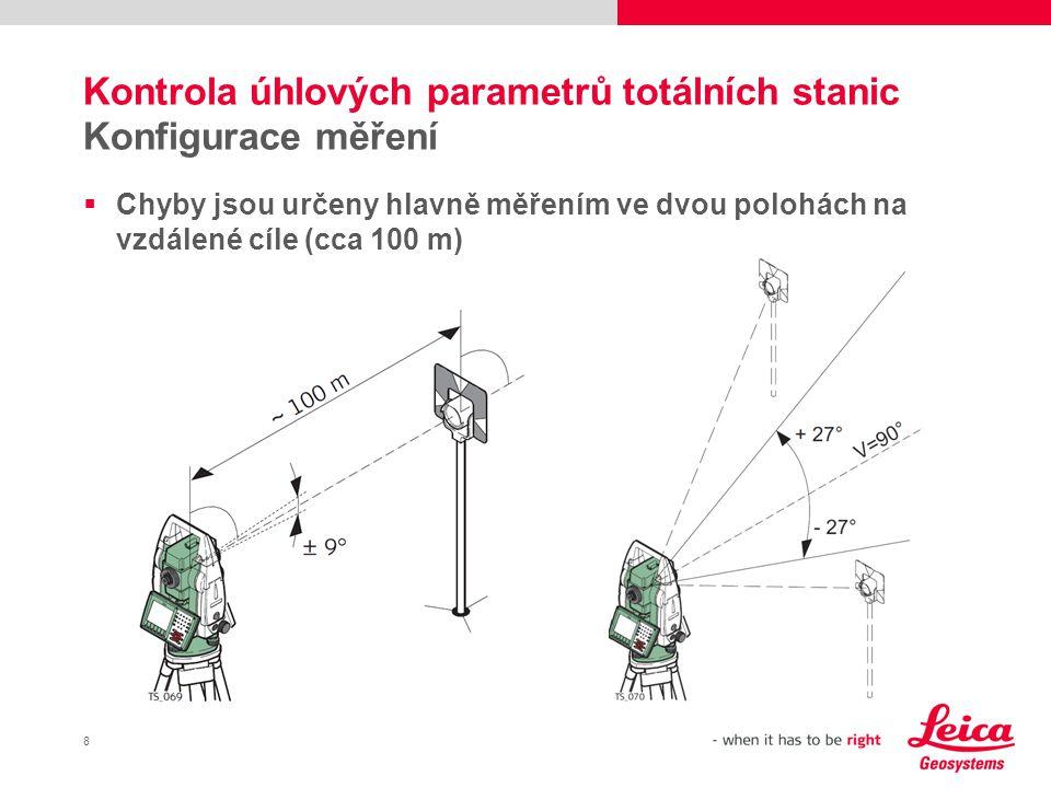 Kontrola úhlových parametrů totálních stanic Konfigurace měření
