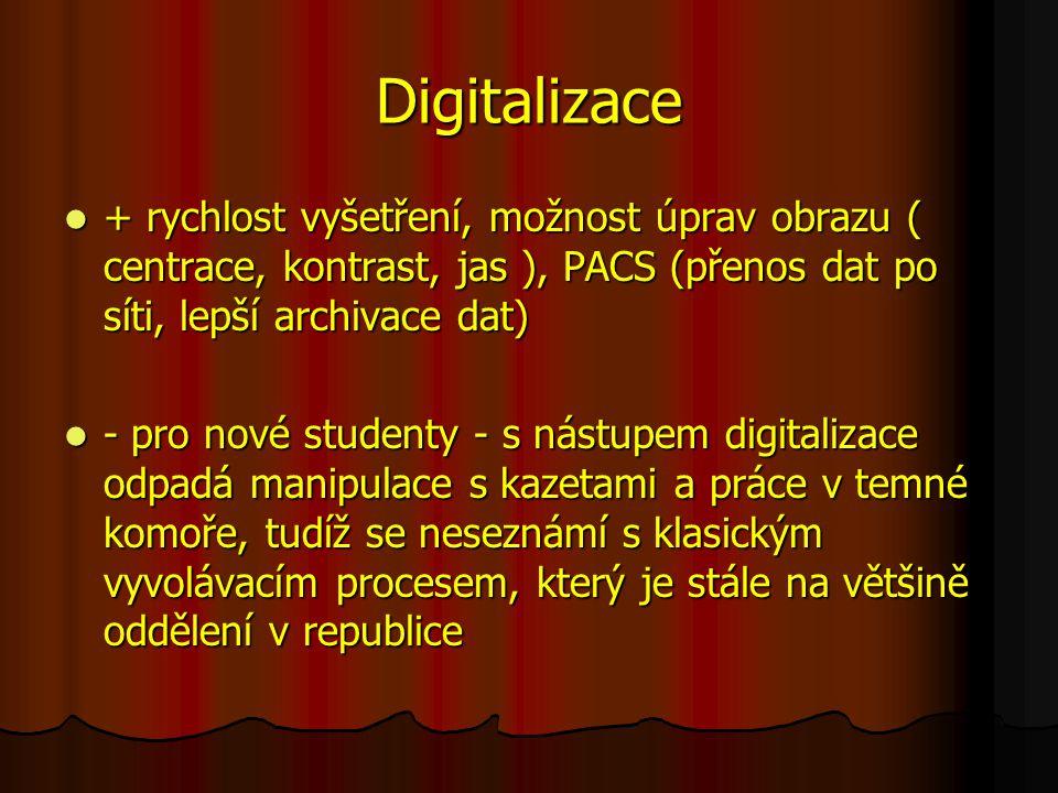Digitalizace + rychlost vyšetření, možnost úprav obrazu ( centrace, kontrast, jas ), PACS (přenos dat po síti, lepší archivace dat)