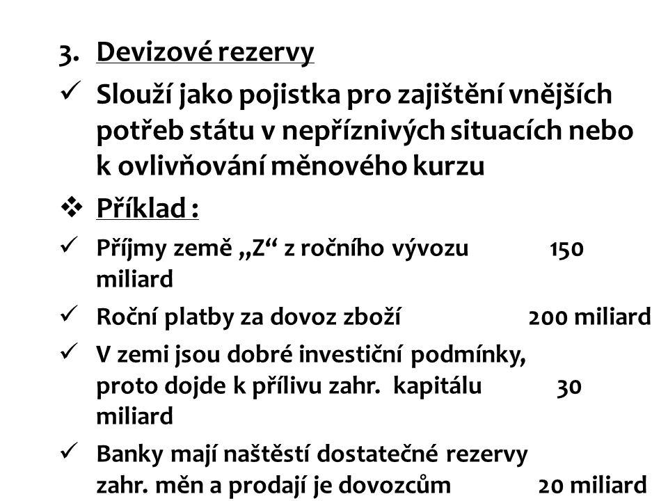 Devizové rezervy Slouží jako pojistka pro zajištění vnějších potřeb státu v nepříznivých situacích nebo k ovlivňování měnového kurzu.