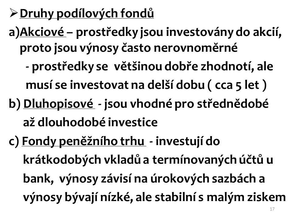 Druhy podílových fondů