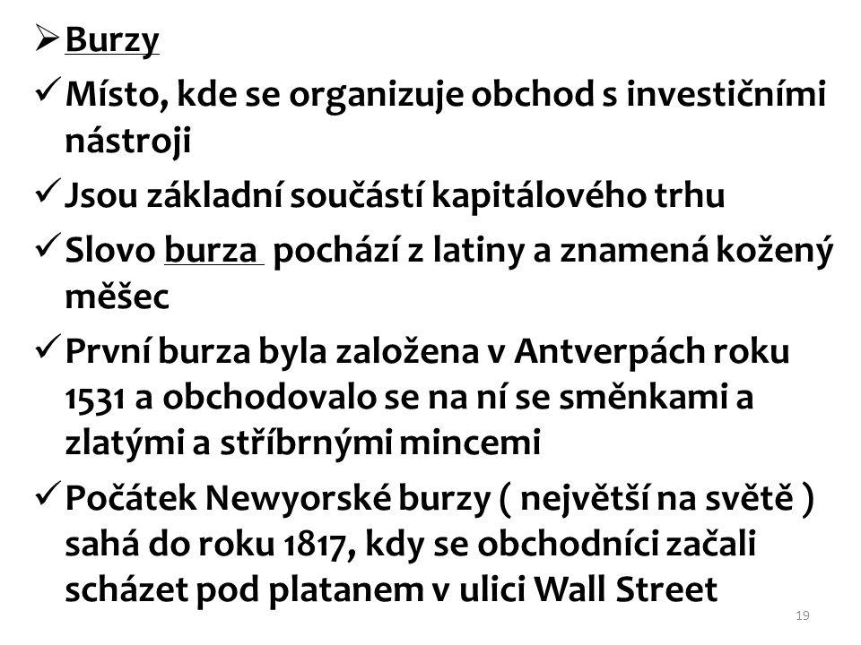 Burzy Místo, kde se organizuje obchod s investičními nástroji. Jsou základní součástí kapitálového trhu.