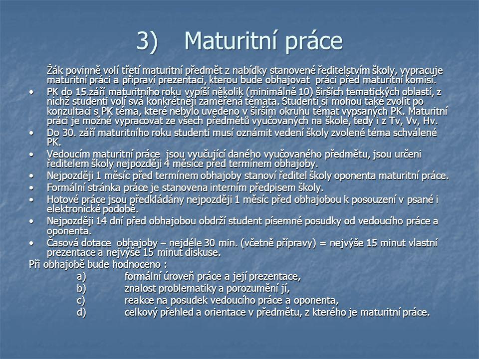 3) Maturitní práce