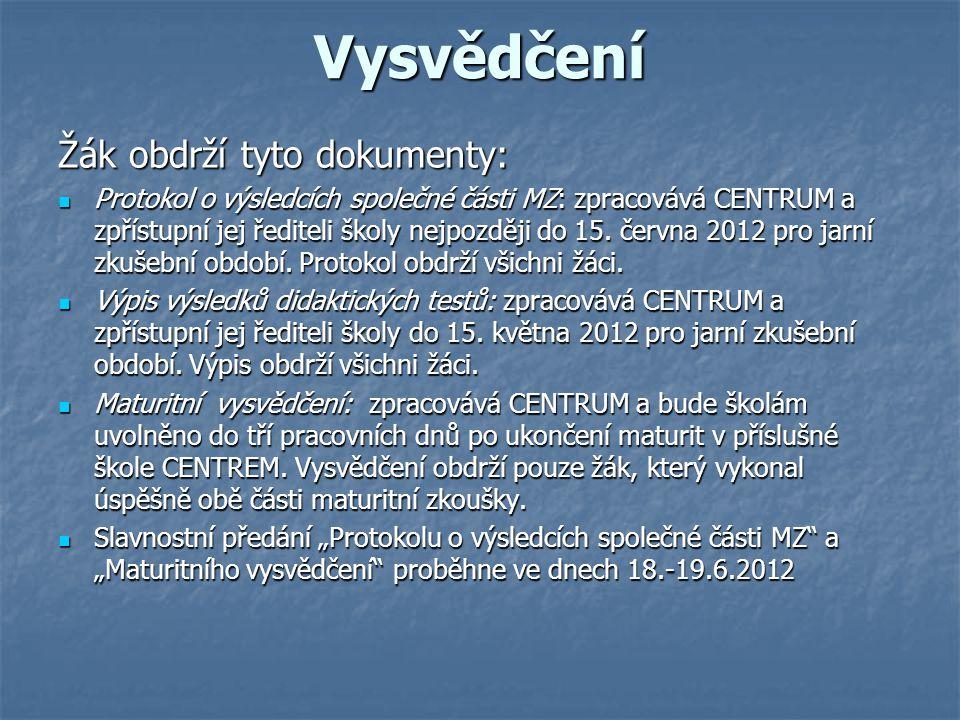 Vysvědčení Žák obdrží tyto dokumenty: