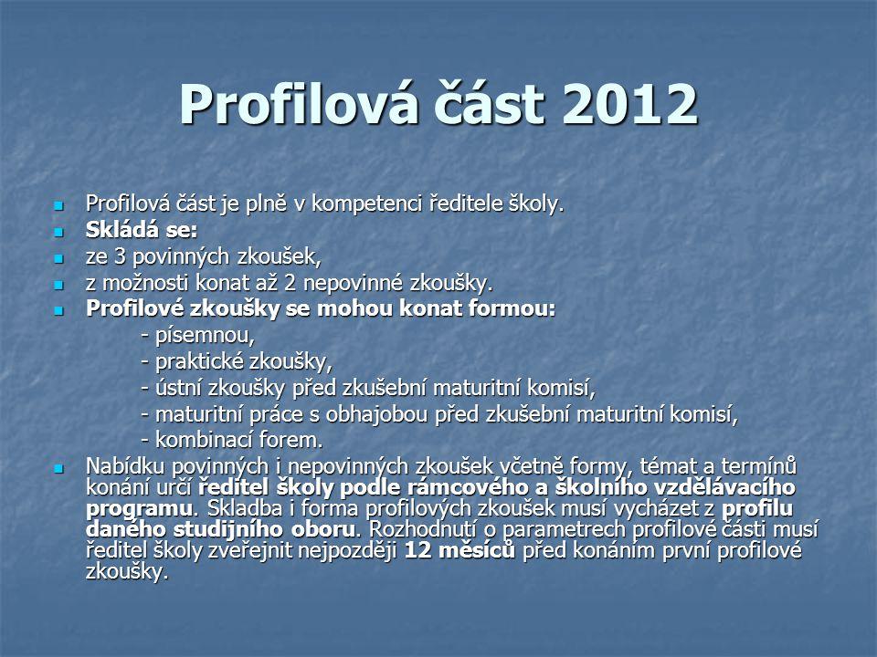 Profilová část 2012 Profilová část je plně v kompetenci ředitele školy. Skládá se: ze 3 povinných zkoušek,