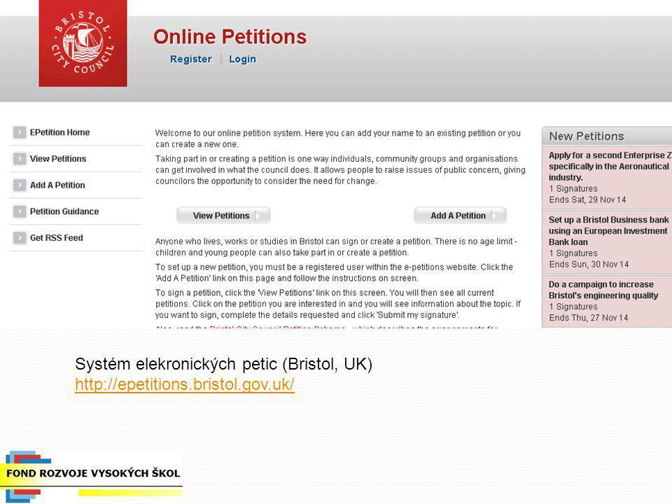 Systém elekronických petic (Bristol, UK) http://epetitions. bristol