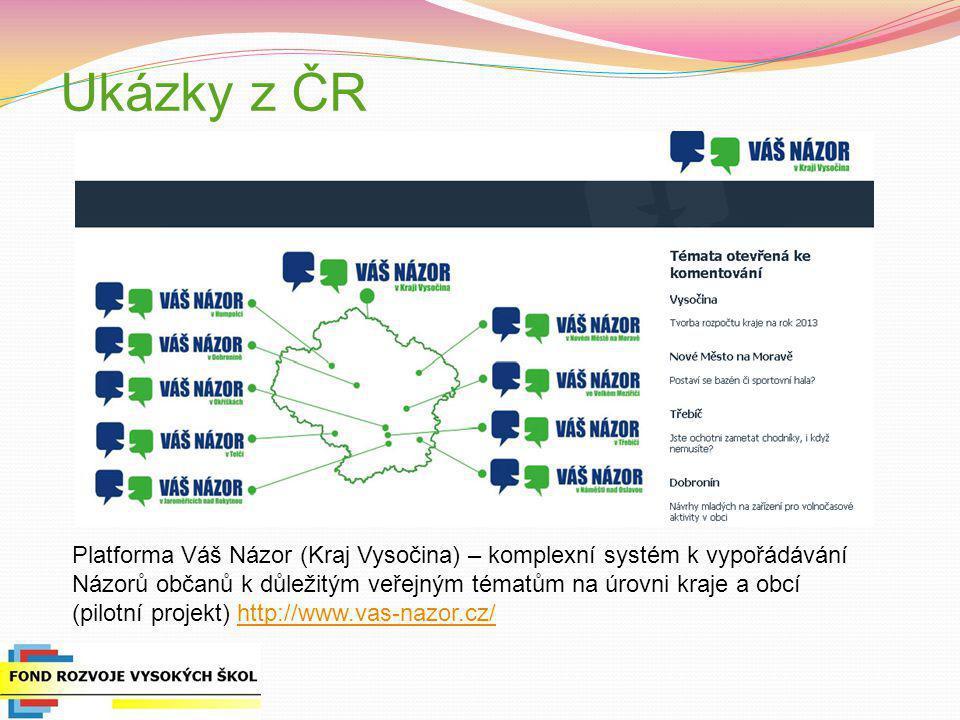 Ukázky z ČR Platforma Váš Názor (Kraj Vysočina) – komplexní systém k vypořádávání. Názorů občanů k důležitým veřejným tématům na úrovni kraje a obcí.