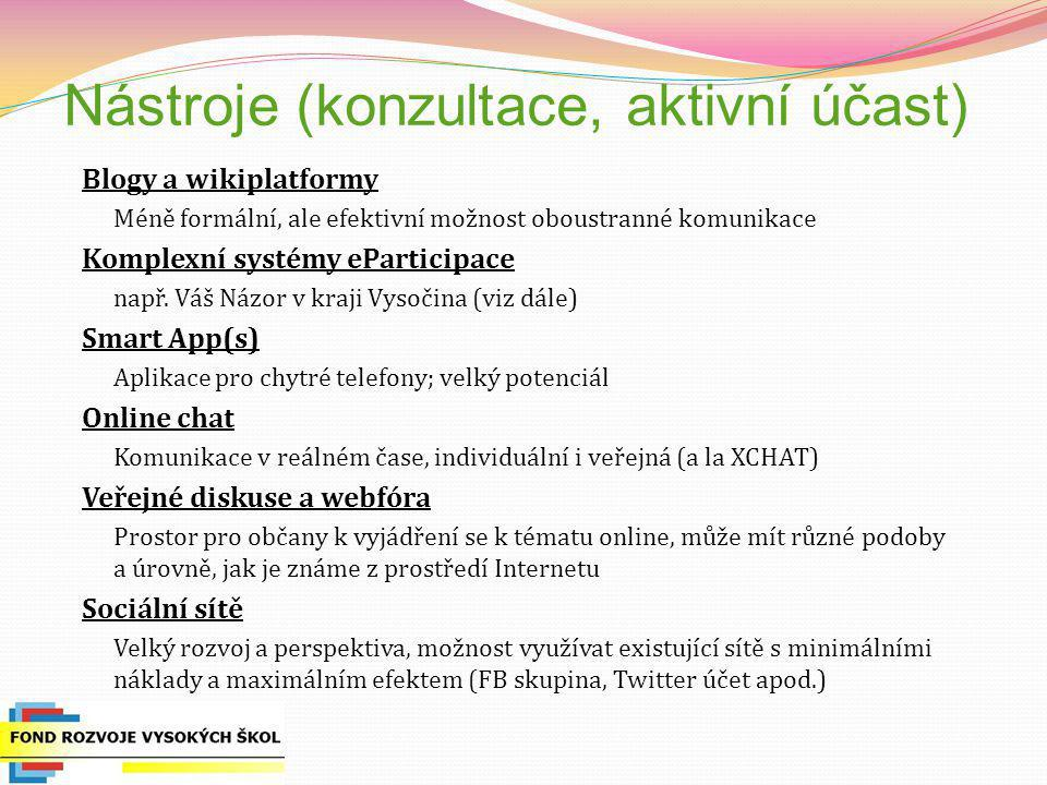 Nástroje (konzultace, aktivní účast)