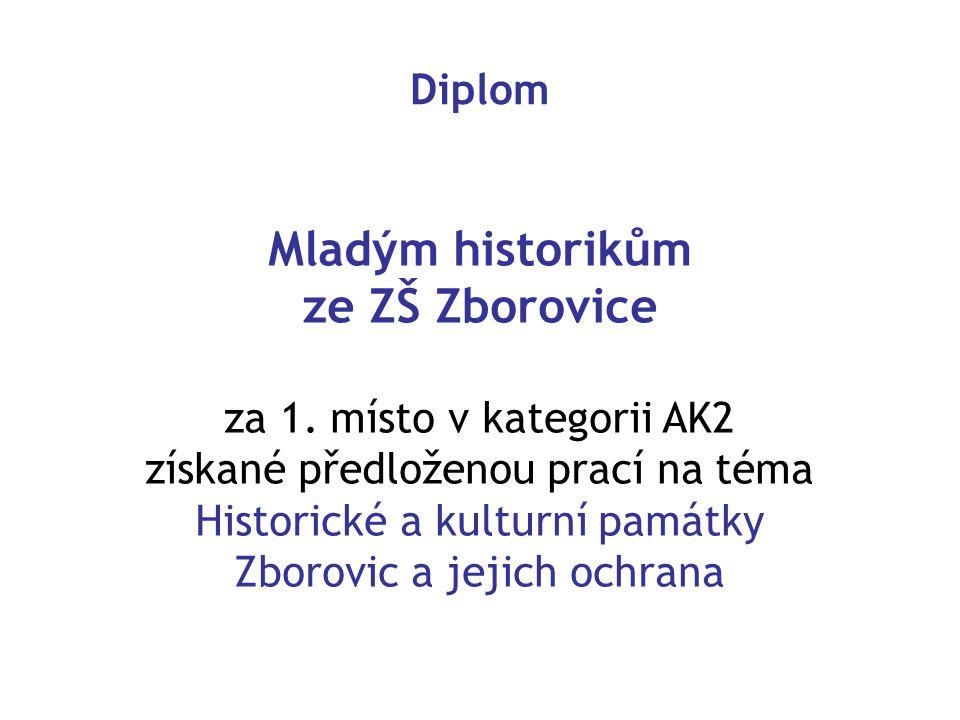 Mladým historikům ze ZŠ Zborovice
