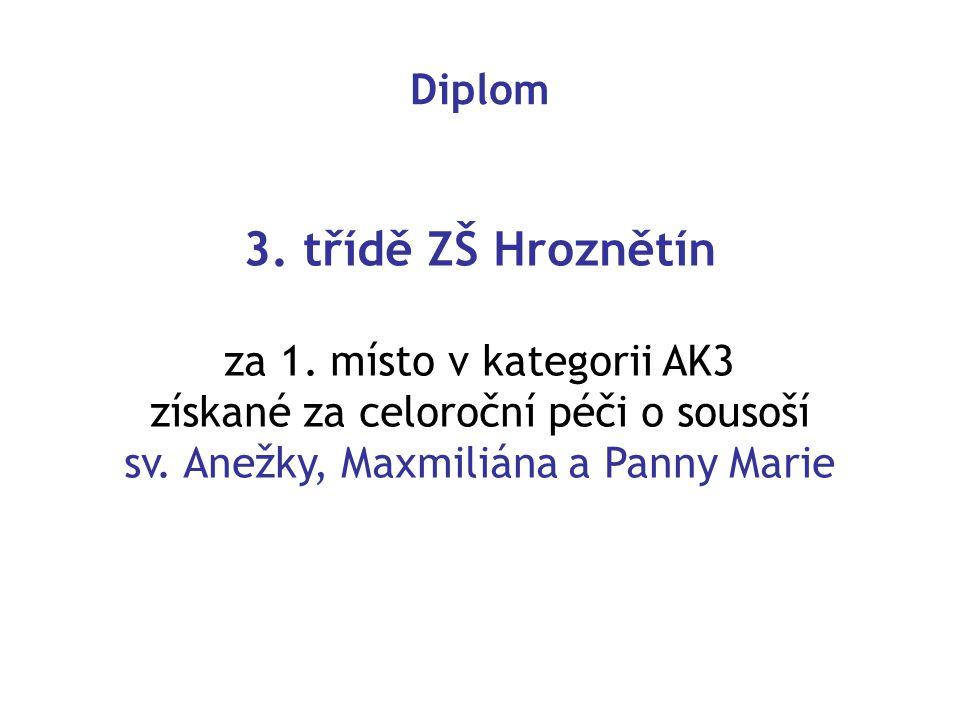 3. třídě ZŠ Hroznětín Diplom za 1. místo v kategorii AK3