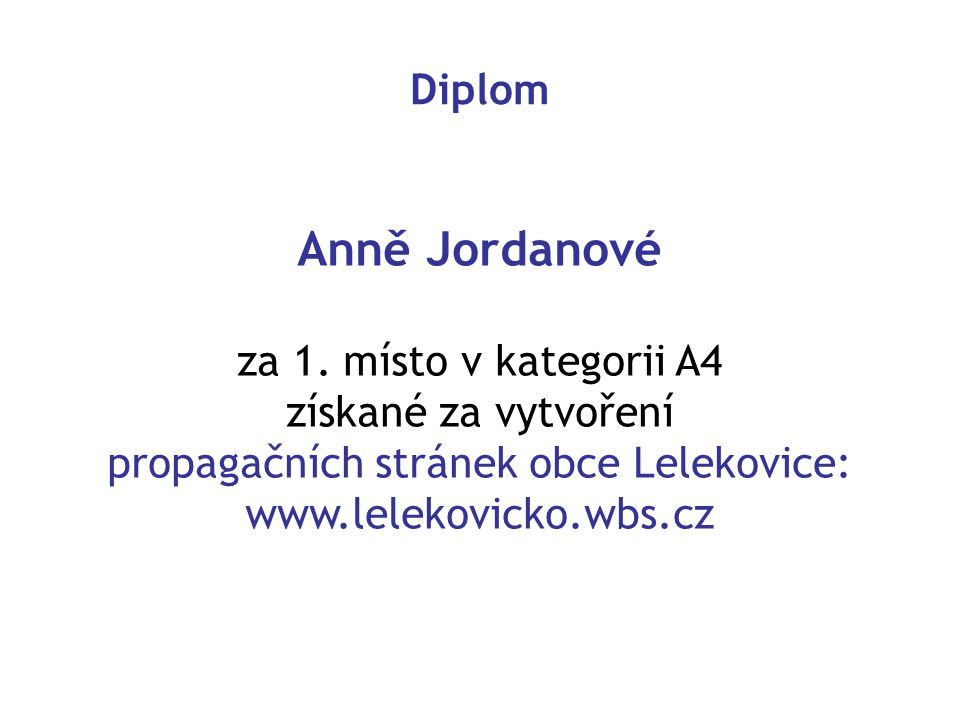 propagačních stránek obce Lelekovice: