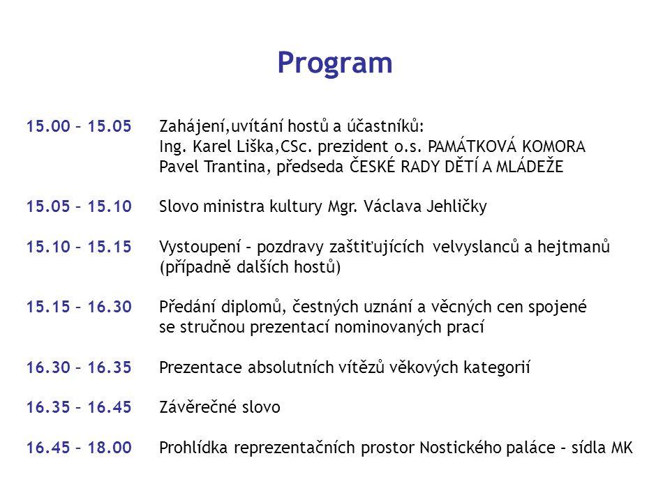 Program 15.00 – 15.05 Zahájení,uvítání hostů a účastníků:
