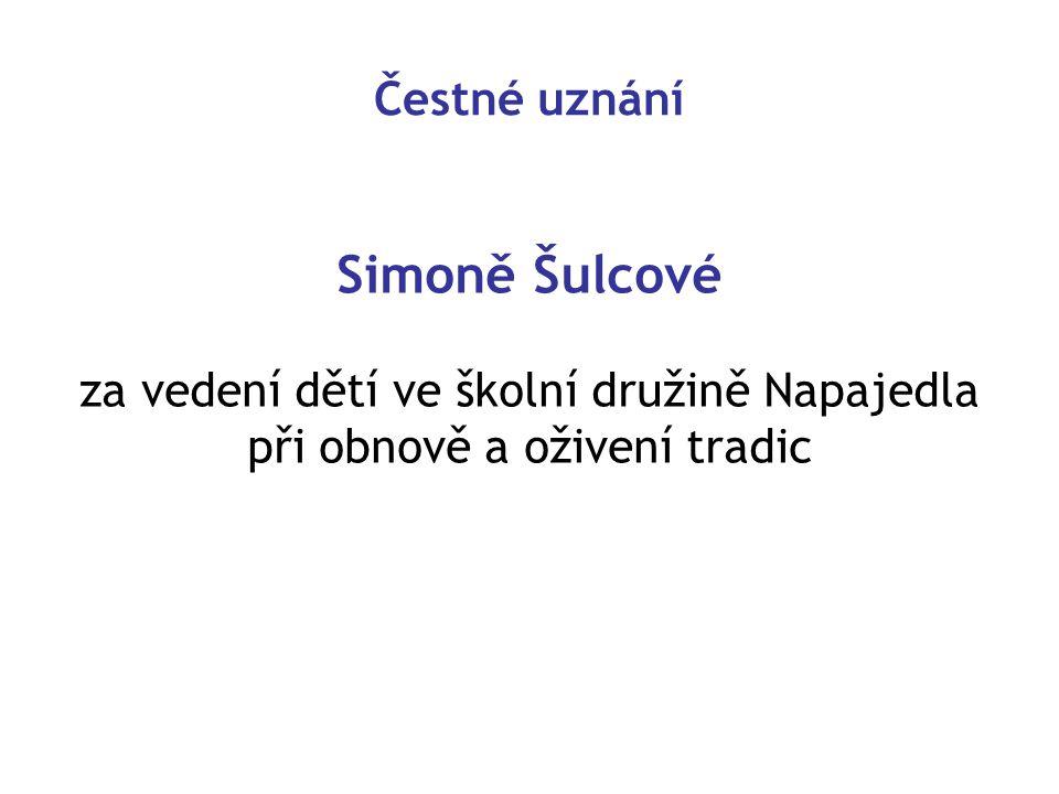Simoně Šulcové Čestné uznání