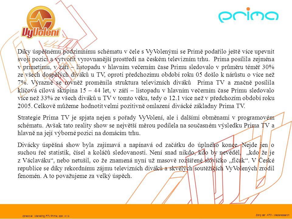 Díky úspěšnému podzimnímu schématu v čele s VyVolenými se Primě podařilo ještě více upevnit svoji pozici a vytvořit vyrovnanější prostředí na českém televizním trhu. Prima posílila zejména v primetimu, v září – listopadu v hlavním večerním čase Primu sledovalo v průměru téměř 30% ze všech dospělých diváků u TV, oproti předchozímu období roku 05 došlo k nárůstu o více než 7%. Výrazně se rovněž proměnila struktura televizních diváků Prima TV a značně posílila klíčová cílová skupina 15 – 44 let, v září – listopadu v hlavním večerním čase Primu sledovalo více než 33% ze všech diváků u TV v tomto věku, tedy o 12.1 více než v předchozím období roku 2005. Celkově můžeme hodnotit velmi pozitivně omlazení divácké základny Prima TV.