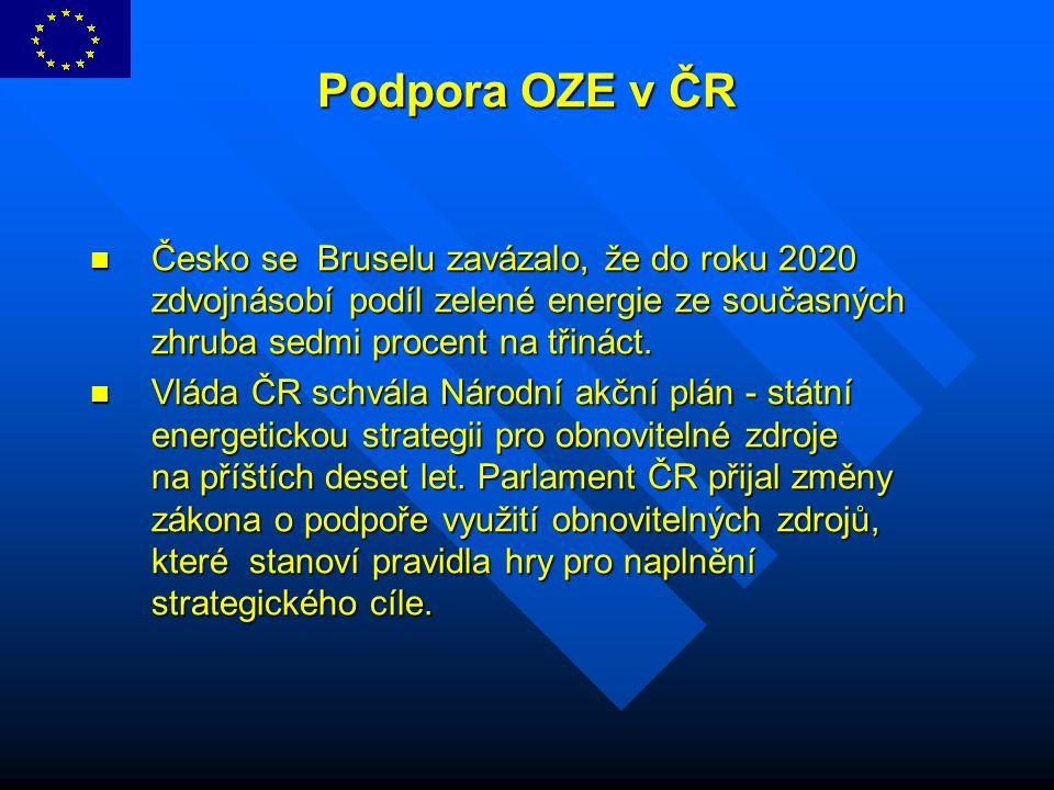 Podpora OZE v ČR Česko se Bruselu zavázalo, že do roku 2020 zdvojnásobí podíl zelené energie ze současných zhruba sedmi procent na třináct.