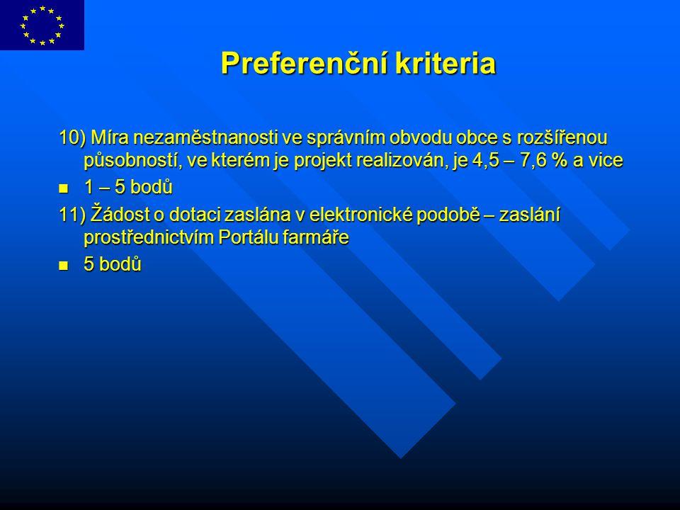 Preferenční kriteria 10) Míra nezaměstnanosti ve správním obvodu obce s rozšířenou působností, ve kterém je projekt realizován, je 4,5 – 7,6 % a vice.