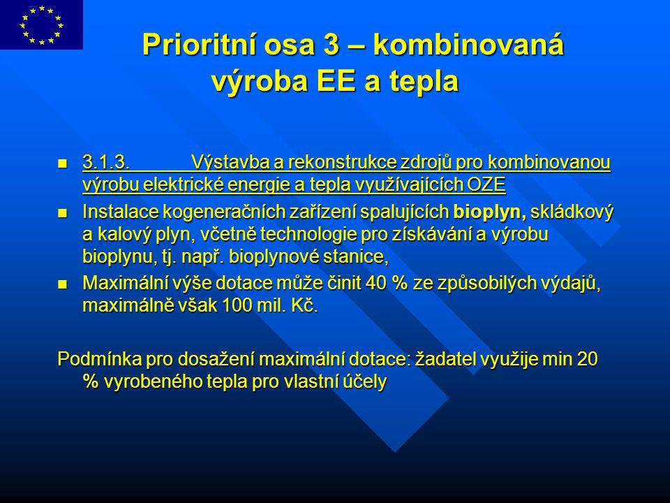 Prioritní osa 3 – kombinovaná výroba EE a tepla