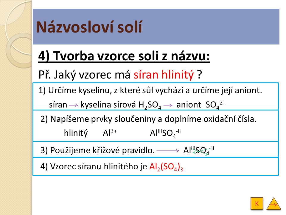 Názvosloví solí 4) Tvorba vzorce soli z názvu: