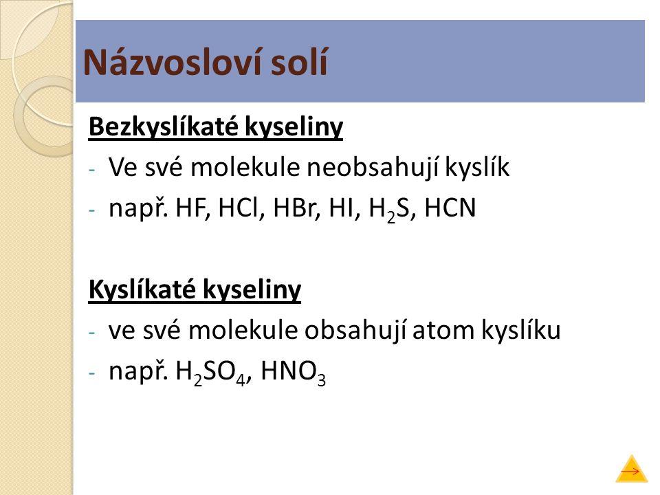 Názvosloví solí Bezkyslíkaté kyseliny