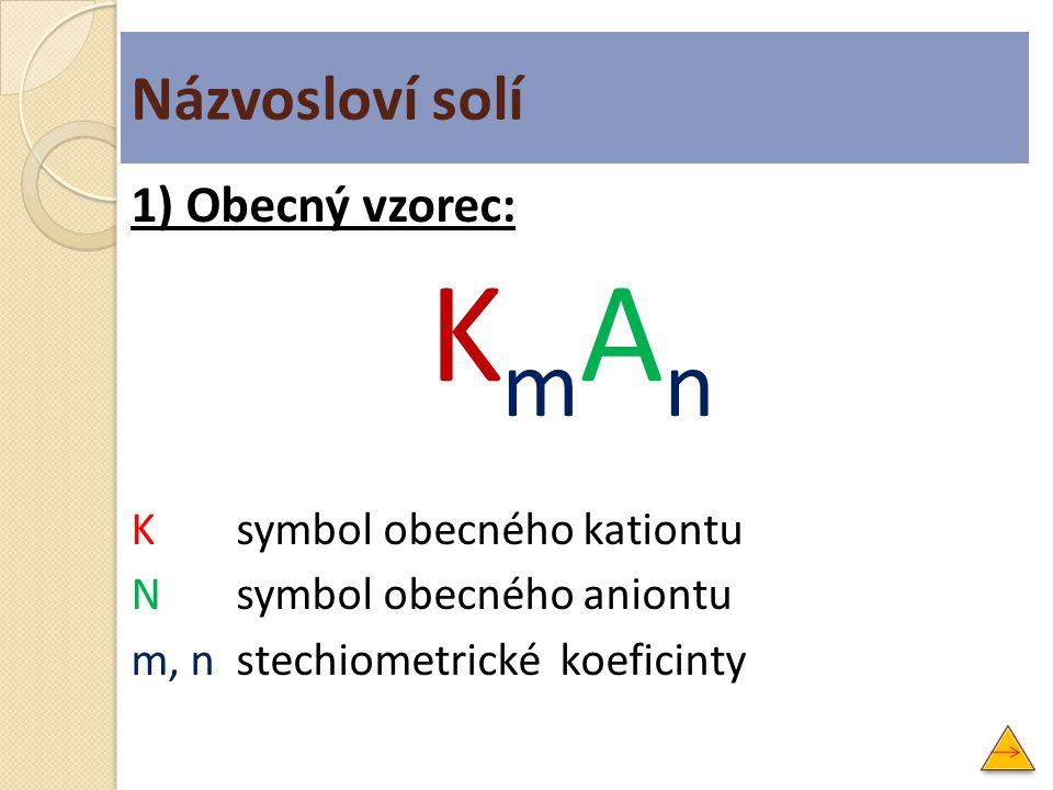 Názvosloví solí 1) Obecný vzorec: KmAn K symbol obecného kationtu