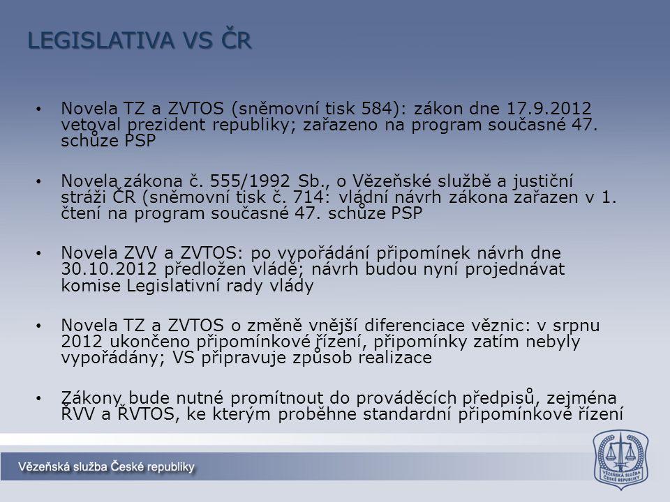 LEGISLATIVA VS ČR Novela TZ a ZVTOS (sněmovní tisk 584): zákon dne 17.9.2012 vetoval prezident republiky; zařazeno na program současné 47. schůze PSP.