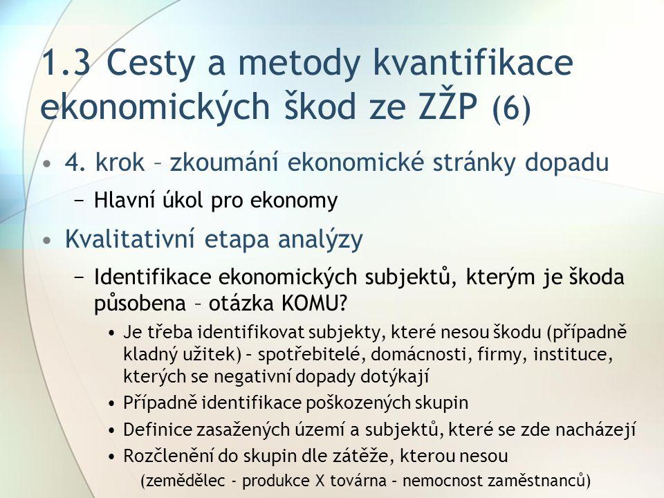 1.3 Cesty a metody kvantifikace ekonomických škod ze ZŽP (6)