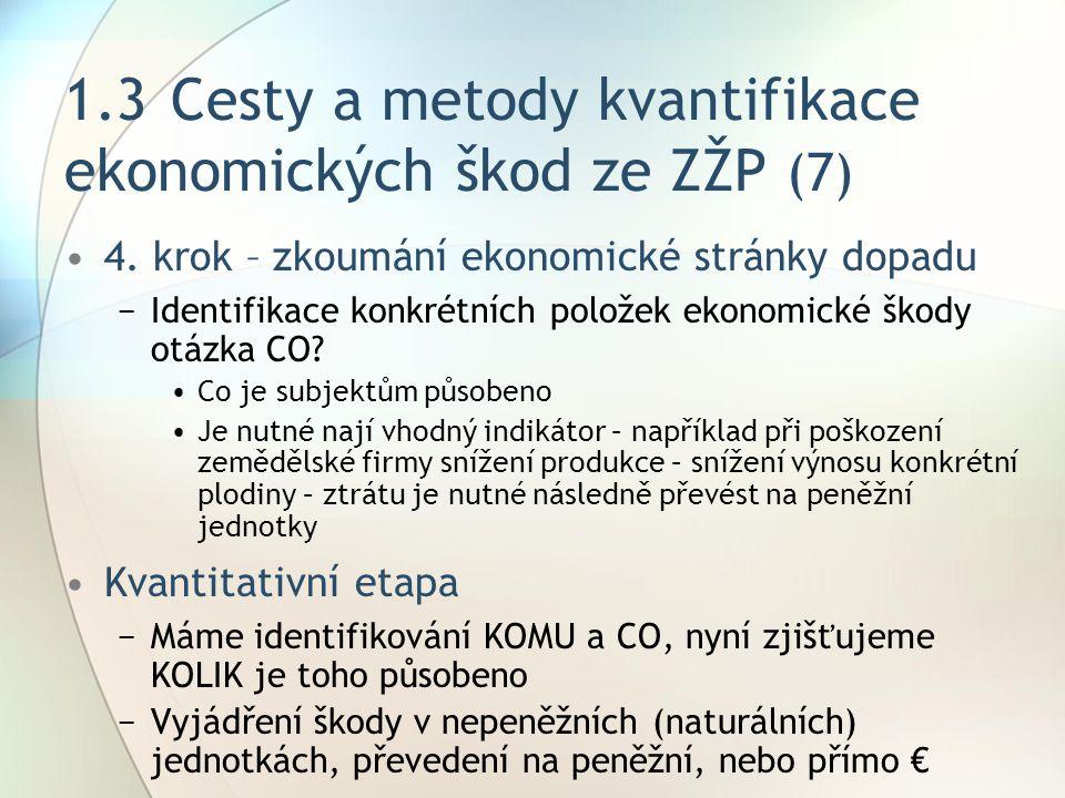 1.3 Cesty a metody kvantifikace ekonomických škod ze ZŽP (7)