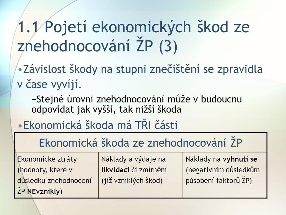 1.1 Pojetí ekonomických škod ze znehodnocování ŽP (3)