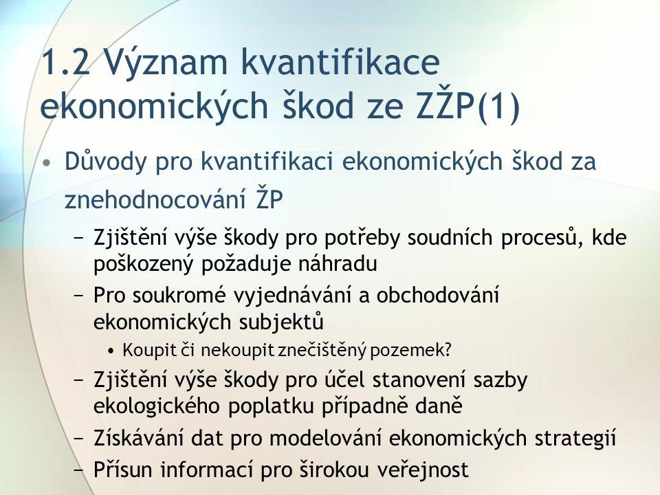 1.2 Význam kvantifikace ekonomických škod ze ZŽP(1)