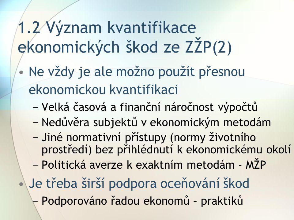 1.2 Význam kvantifikace ekonomických škod ze ZŽP(2)