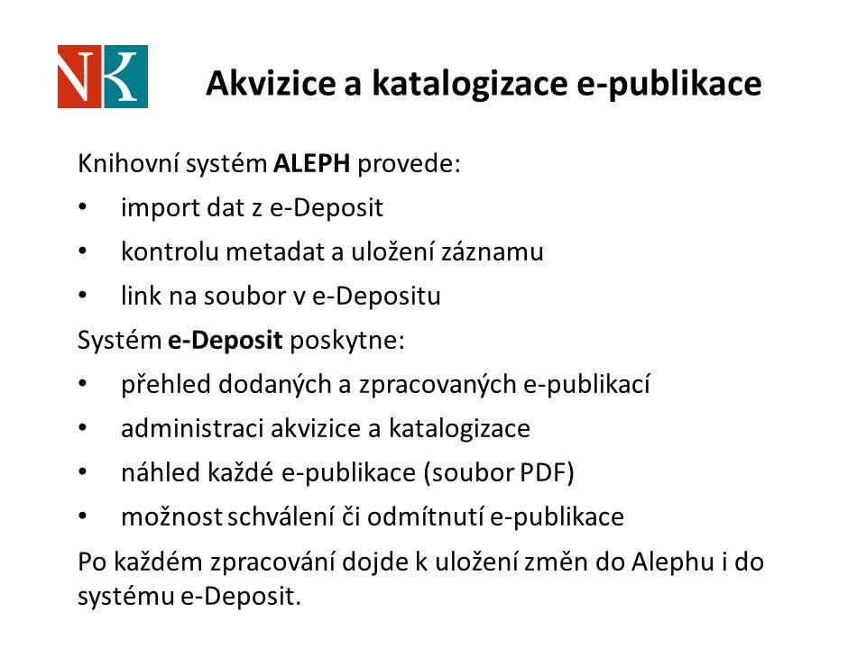 Akvizice a katalogizace e-publikace