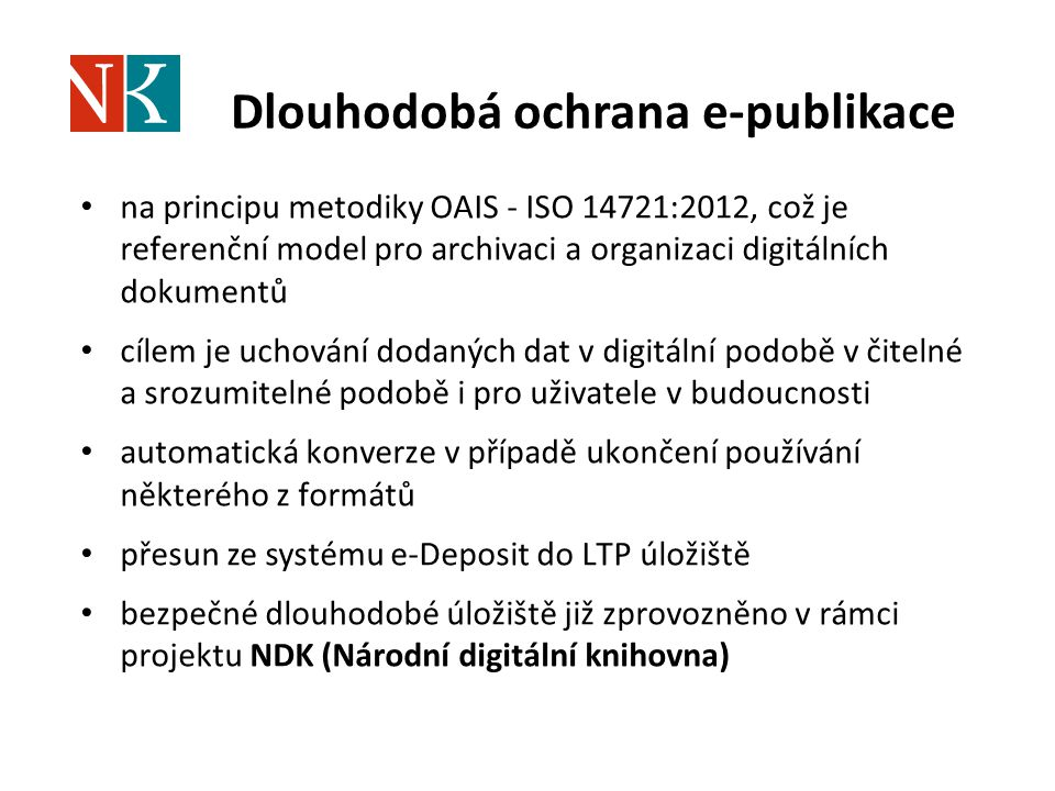 Dlouhodobá ochrana e-publikace