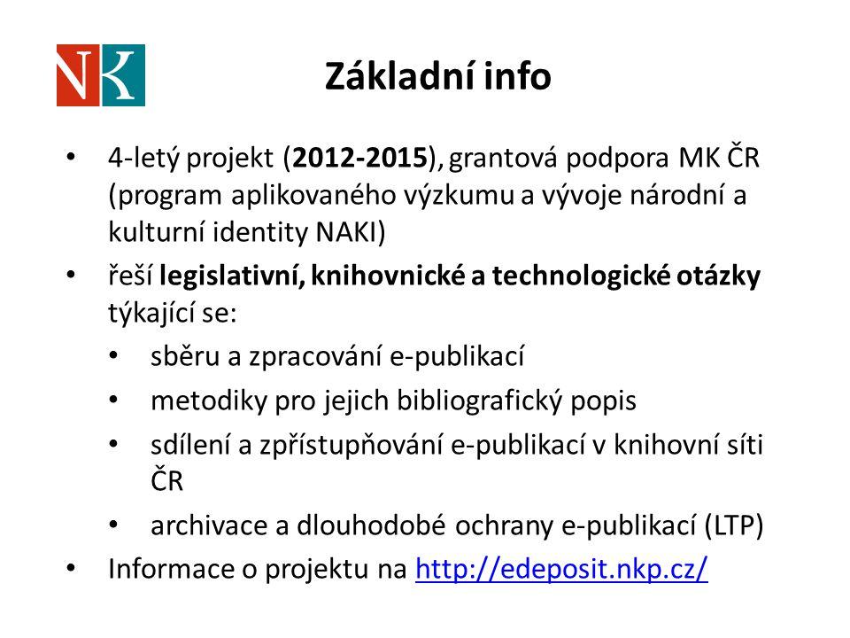 Základní info 4-letý projekt (2012-2015), grantová podpora MK ČR (program aplikovaného výzkumu a vývoje národní a kulturní identity NAKI)