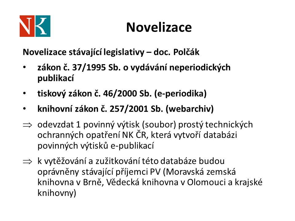 Novelizace Novelizace stávající legislativy – doc. Polčák