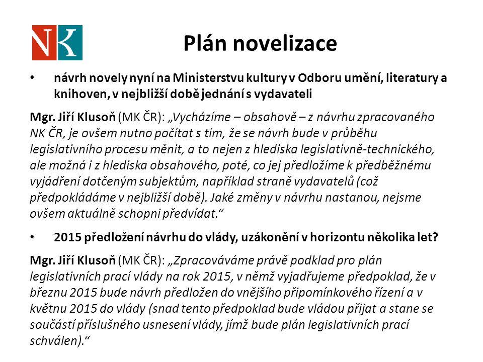 Plán novelizace návrh novely nyní na Ministerstvu kultury v Odboru umění, literatury a knihoven, v nejbližší době jednání s vydavateli.