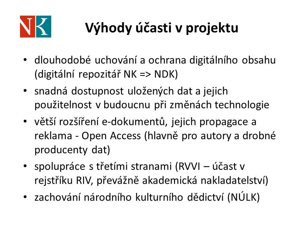 Výhody účasti v projektu