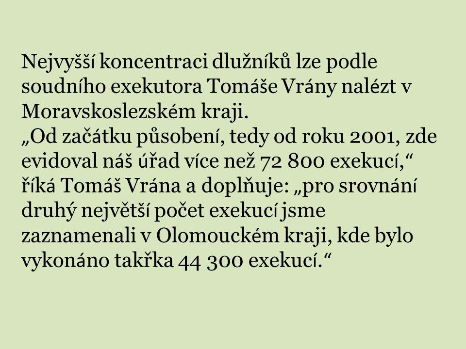 Nejvyšší koncentraci dlužníků lze podle soudního exekutora Tomáše Vrány nalézt v Moravskoslezském kraji.