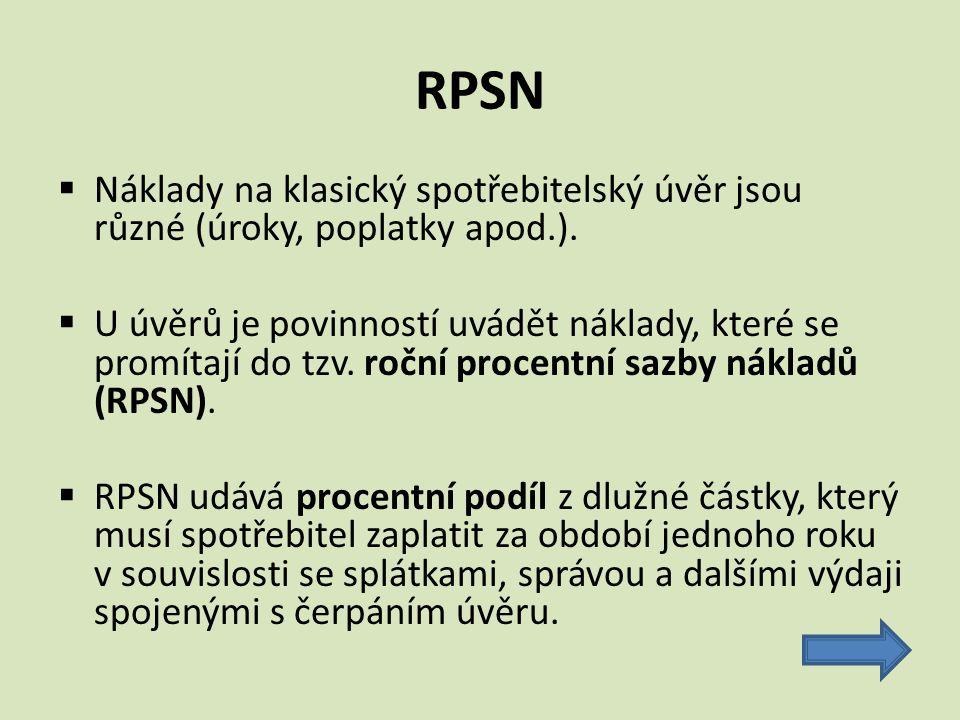 RPSN Náklady na klasický spotřebitelský úvěr jsou různé (úroky, poplatky apod.).