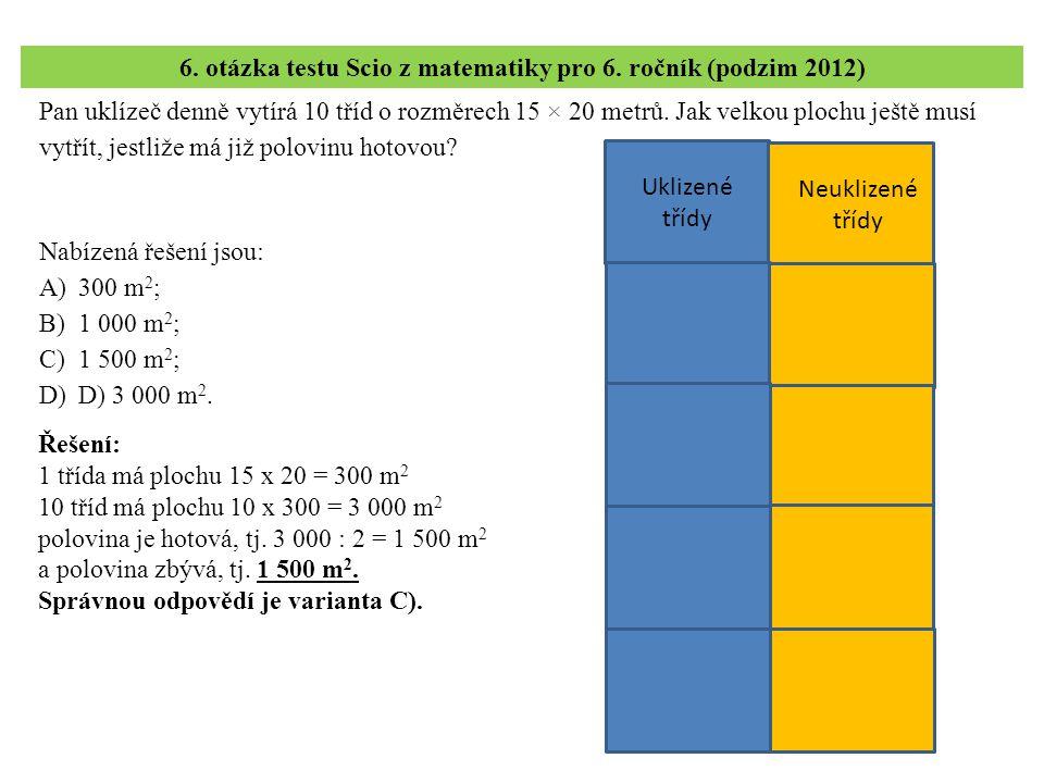 6. otázka testu Scio z matematiky pro 6. ročník (podzim 2012)