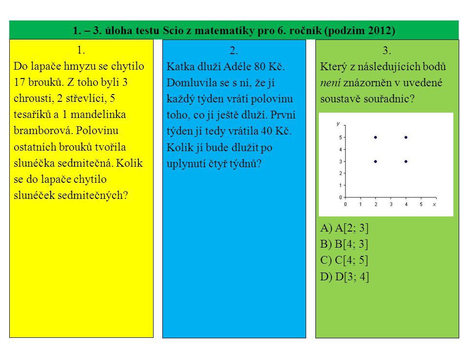 1. – 3. úloha testu Scio z matematiky pro 6. ročník (podzim 2012)