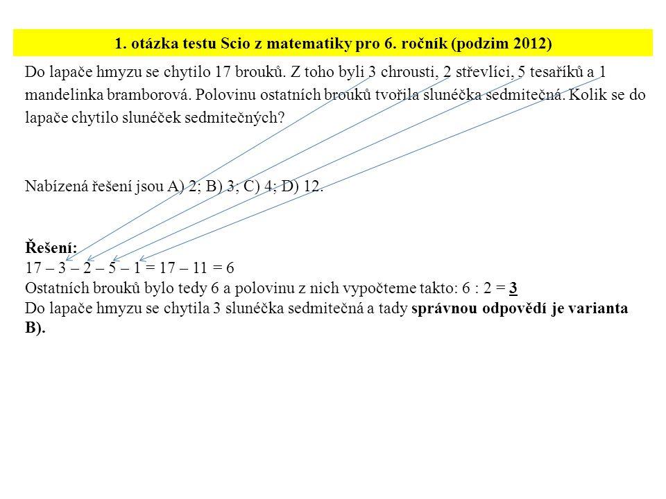 1. otázka testu Scio z matematiky pro 6. ročník (podzim 2012)
