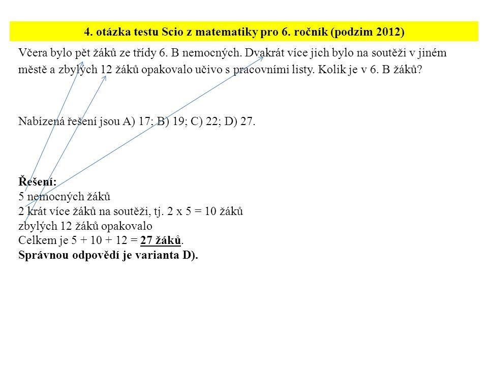 4. otázka testu Scio z matematiky pro 6. ročník (podzim 2012)